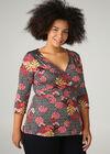 T-shirt met geometrische en tropische print, Zwart