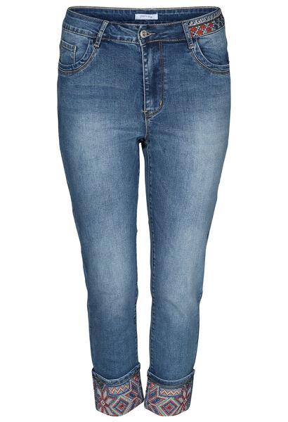 Jeans met borduurwerk onderaan - Denim