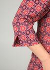 Blouse met Tunesische hals en geometrische print, Pruim