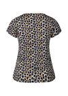T-shirt in koel tricot met cirkelprint, Marineblauw
