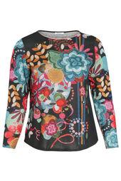 T-shirt in bedrukt, warm tricot