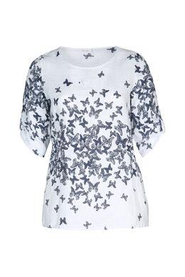 Linnen bloes met vlinderprint, Wit