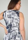 Lange jurk met gomprint van bladeren, Marineblauw