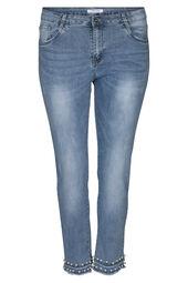 Kuitbroek in jeans met kralen