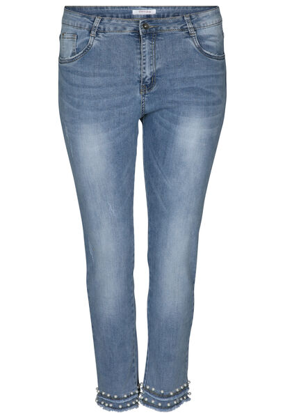 7/8 slim jeans met kralen - Denim