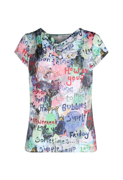 Bedrukt T-shirt in koel tricot - Multicolor