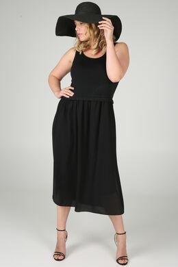 Lange jurk in twee stoffen, Zwart