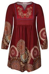 Jurk in tricot met rozetten