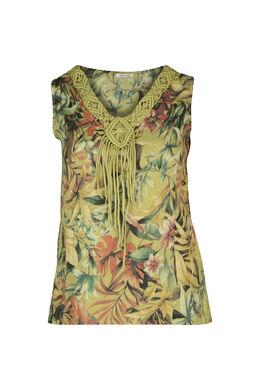Mouwloze bloes in linnen met een bloemenprint, Olijfgroen