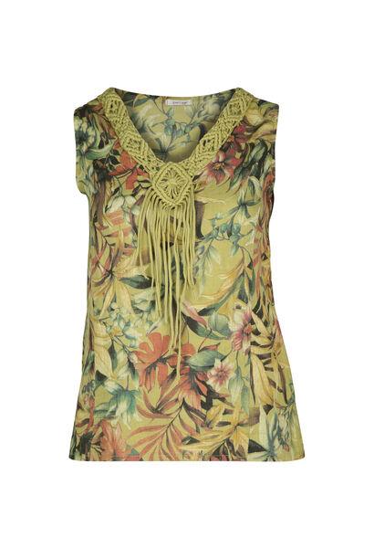 Mouwloze bloes in linnen met een bloemenprint - Olijfgroen