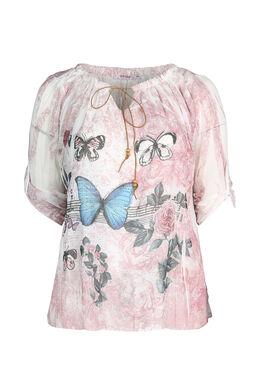 Bloes bedrukt met vlinders, Roze