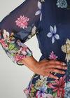 Blouse in zijde met bloemetjesprint, Marineblauw