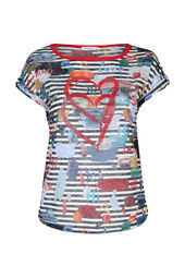 T-shirt in gestreept linnentricot