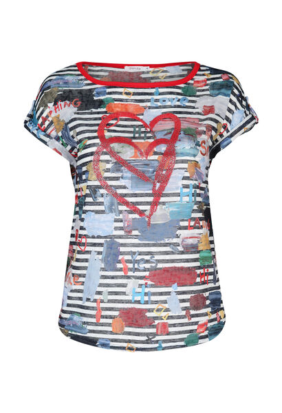 T-shirt in gestreept linnentricot - Multicolor
