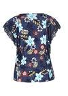 T-shirt bedrukt met bloemen en kant, Denim