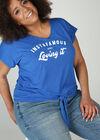 T-shirt in tricot met print, Bic blauw