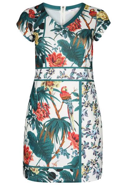 Jurk in tricot met een tropische print en papegaaitjes - Wit