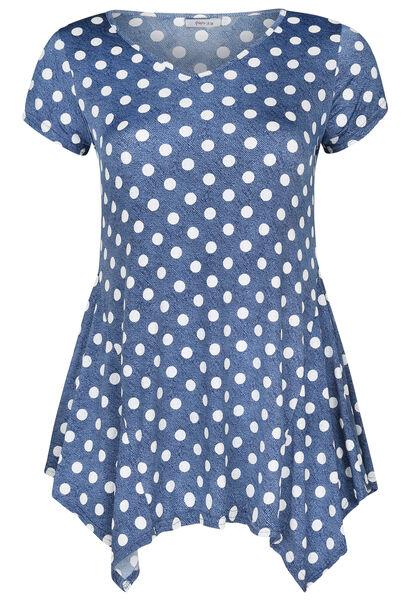 Tuniek t-shirt in gestipt tricot - Denim