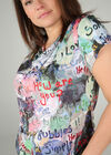 Bedrukt T-shirt in koel tricot, Multicolor