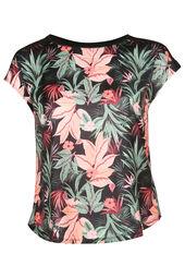 Satijnachtig T-shirt met tropische print