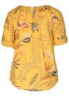 Linnen blouse met barokprint, Oker