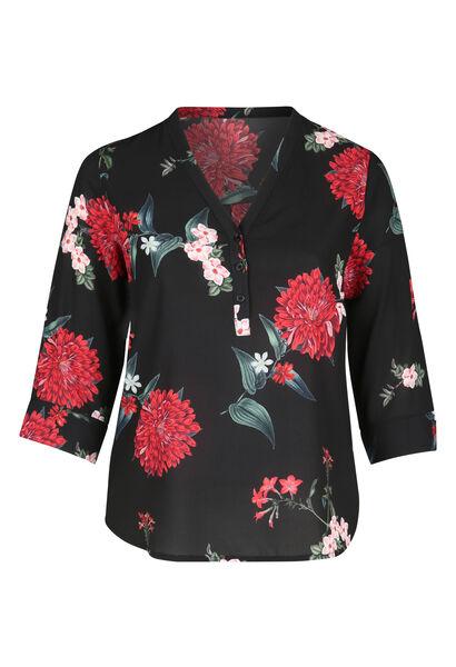 Blouse met bloemenprint en V-hals met knoopjes - Zwart