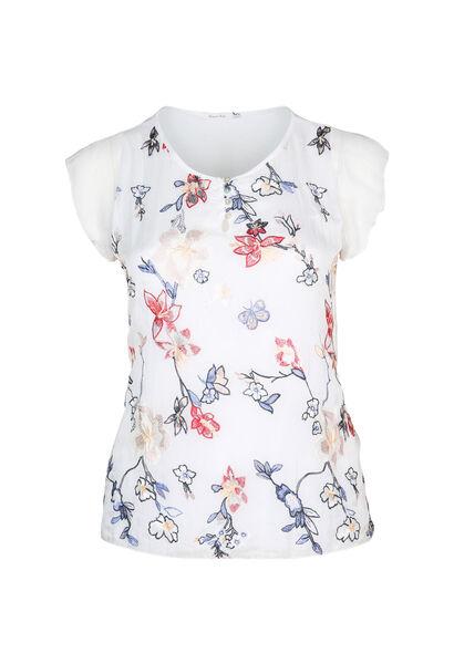 Zijden bloes met borduurwerk - Wit