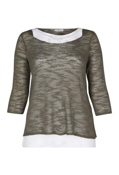 Dubbele trui in licht tricot - Kaki
