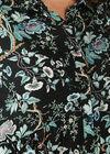 Hemdjurk met bloemenprint, Zwart