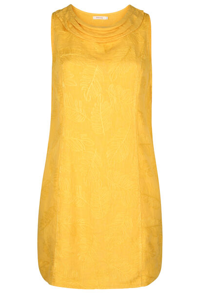 Linnen jurk met geborduurde bladeren - Oker