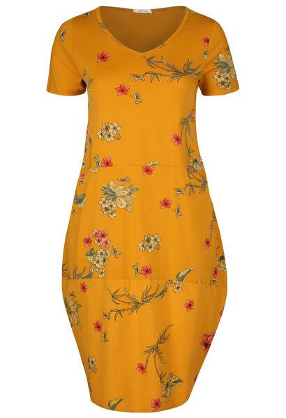 Lange jurk met opbollend effect en bloemenprint - Oker