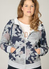Sweater met kap en bloemenprint, Marineblauw