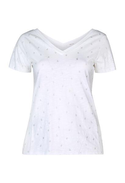 T-shirt met bladprint - Ecru