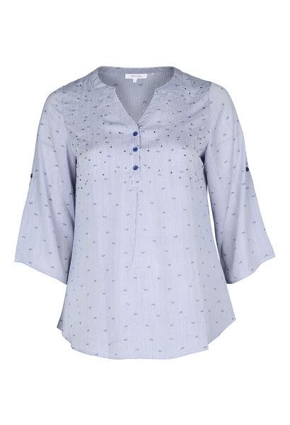 Gestreepte bloes met print - Marineblauw