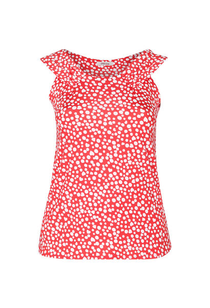 Top in koel tricot met stippenprint - Rood
