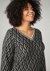 T-shirt met geometrische print en lurexstroken, Zwart