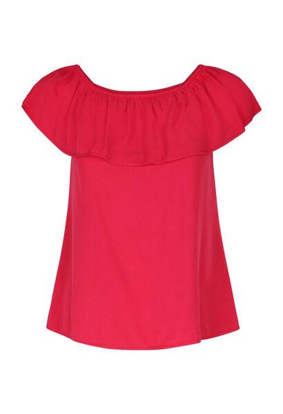 T-shirt met elastische halsopening - Fushia
