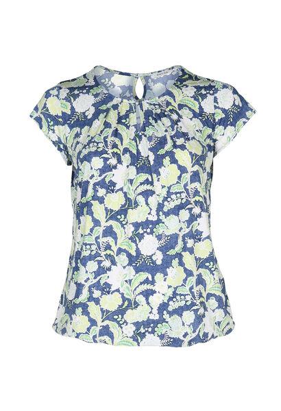 T-shirt in koel tricot met gomprint van bloemen en bladeren - Olijfgroen