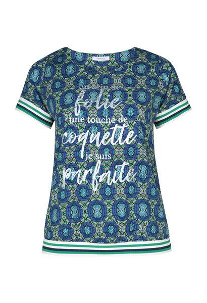 T-shirt met boodschap in wasprint - Groen