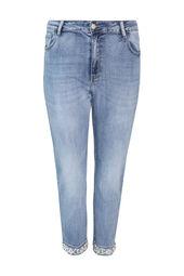 Slim jeans met omslag met margrieten