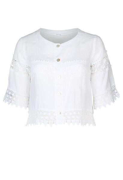 Kort vest in linnen met borduurwerk - Wit