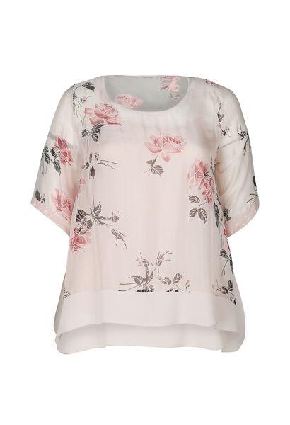 Ruime blouse met rozenprint - Roze