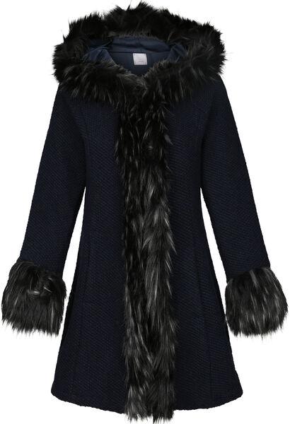 Mantel met imitatiebont en kap - Marineblauw