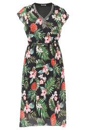 Lange jurk met tropische en ananasprint