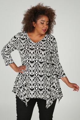 Tuniek t-shirt met geometrische gomprint, Zwart