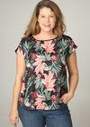 Satijnachtig T-shirt met tropische print, Multicolor