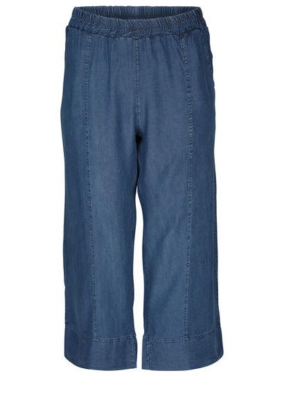 Brede kuitbroek in lyocell-jeans - Denim