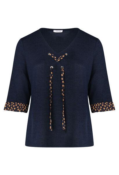 Voile T-shirt met stippen - Marineblauw