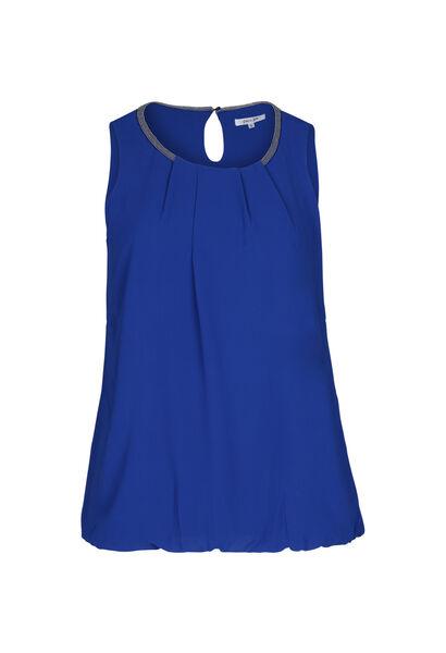 Mouwloze bloes met kralenhals - Bic blauw