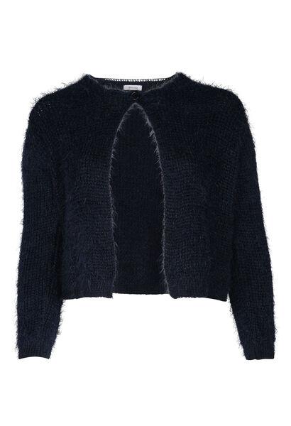 Korte, pluizige cardigan - Marineblauw